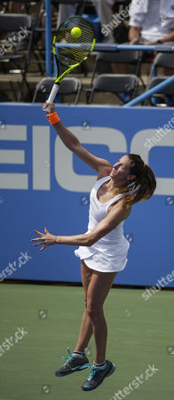 Mariana Duque-Marino (COL) serves the ball during her lose to Simona Halep (ROU) at the Citi Open tennis tournament being played at Rock Creek Park Tennis Center in Washington, D.C
