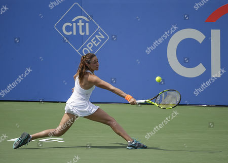 Mariana Duque-Marino (COL) stretches for a shot at the Citi Open tennis tournament being played at Rock Creek Park Tennis Center in Washington, D.C