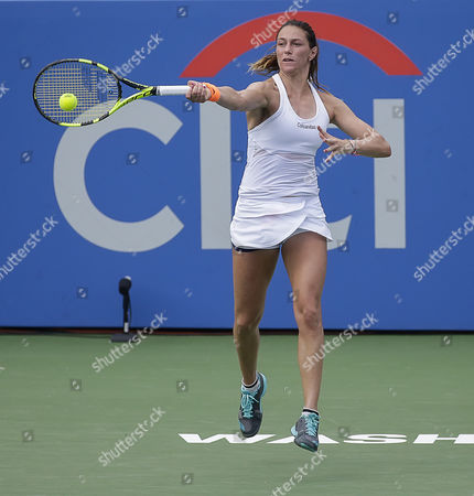 Mariana Duque-Marino (COL) plays the ball back over the net at the Citi Open tennis tournament being played at Rock Creek Park Tennis Center in Washington, D.C
