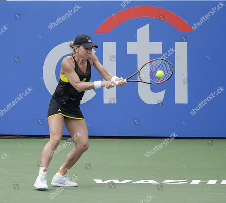 Simona Halep (ROU) plays a serve back to Mariana Duque-Marino (COL) at the Citi Open tennis tournament being played at Rock Creek Park Tennis Center in Washington, D.C