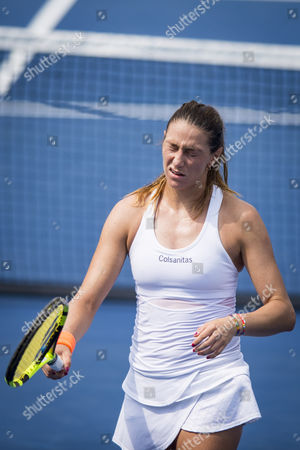 Mariana Duque-Marino of Colombia reacts to an errant shot against Simona Halep of Romania during their match at the Citi Open at the Fitzgerald Tennis Center in Washington, DC, USA 03 Aug 2017. Halep won the match 3-6, 6-4,6-2.