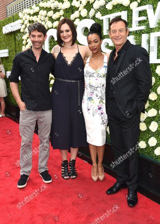 James Frain, Mary Chieffo, Sonequa Martin-Green, Jason Isaac James Frain, from left, Mary Chieffo, Sonequa Martin-Green, Jason Isaac attend the CBS Summer Soiree during the 2017 Summer TCA's at CBS Radford Studios, in Los Angeles