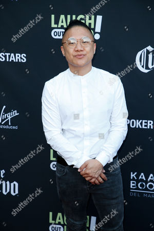 "Timothy DeLaGhetto from Hip Hop Lies poses at Kevin Hart's ""Laugh Out Loud"" new streaming video network launch event at the Goldstein Residence, in Beverly Hills, Calif"