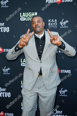 "Stock Image of Slink Johnson from ""Dead House"" poses at Kevin Hart's ""Laugh Out Loud"" new streaming video network launch event at the Goldstein Residence, in Beverly Hills, Calif"