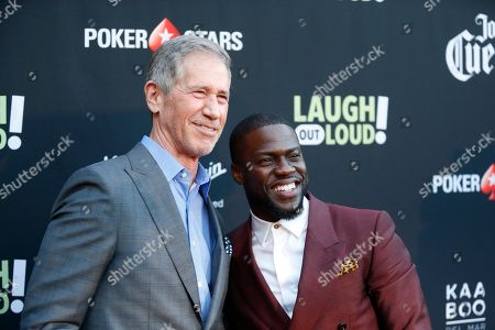 """Jon Feltheimer, Kevin Hart Lionsgate CEO Jon Feltheimer, left, and Kevin Hart, right, pose at Kevin Hart's """"Laugh Out Loud"""" new streaming video network launch event at the Goldstein Residence, in Beverly Hills, Calif"""
