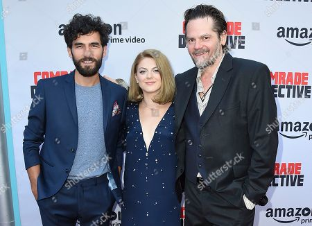 """Florin Piersic Jr., Olivia Nita, Cornilieu Ulici Florin Piersic Jr., Olivia Nita and Cornilieu Ulici arrive at the Los Angeles premiere of """"Comrade Detective"""" on in Los Angeles"""