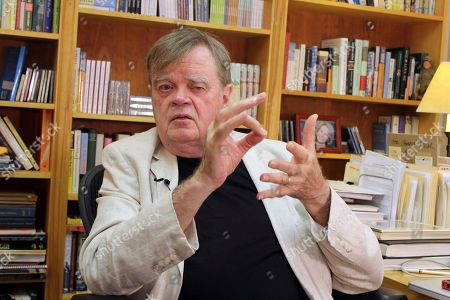 "Stock Photo of A Prairie Home Companion"" creator and former host Garrison Keillor talks at his St. Paul, Minn., office. Keillor is not spending his time in retirement baking Powdermilk Biscuits or drinking coffee down at the Chatterbox Cafe now that he has hung up his microphone as host of his popular public radio show ""A Prairie Home Companion."" He turns 75 on Aug. 7 and boards a bus the next day for a 28-city ""Prairie Home Love & Comedy Tour _ 2017,"" which he vows will be his last"