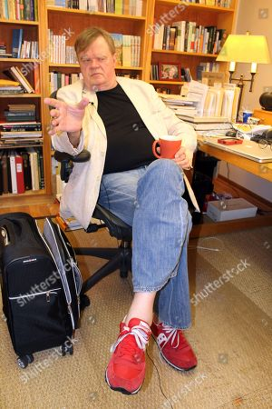 "Stock Image of A Prairie Home Companion"" creator and former host Garrison Keillor talks at his St. Paul, Minn., office. Keillor is not spending his time in retirement baking Powdermilk Biscuits or drinking coffee down at the Chatterbox Cafe now that he has hung up his microphone as host of his popular public radio show ""A Prairie Home Companion."" He turns 75 on Aug. 7 and boards a bus the next day for a 28-city ""Prairie Home Love & Comedy Tour _ 2017,"" which he vows will be his last"