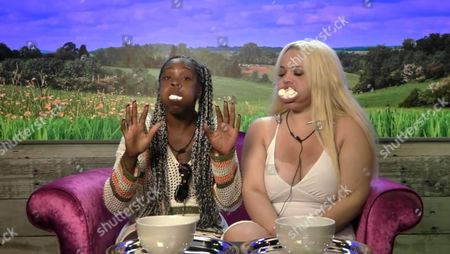 Stock Photo of Sandi Bogle and Trisha Paytas have a marshmallow-eating contest in the Diary Room