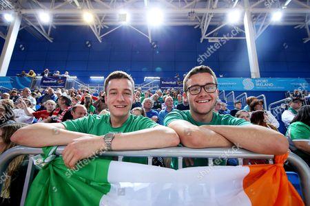 Ireland vs Macedonia. Ireland fans Conor Huijsdens and Andrew lane from Meath