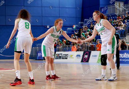 FIBA Under 18 Women's European Championship, National Indoor Arena Court 1, Abbotstown, Dublin 4/8/2017. Ireland vs Macedonia. Ireland's Rachel Huijsdens and Margaret Byrne congratulate Sorcha Tiernan on a basket