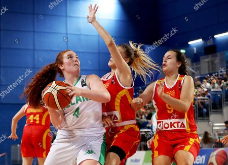 FIBA Under 18 Women's European Championship, National Indoor Arena Court 1, Abbotstown, Dublin 4/8/2017. Ireland vs Macedonia. Ireland's Margaret Byrne with Tea Mitreva of Macedonia
