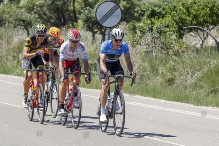 US cyclist Benjamin King (R), of Dimension Data team; Spaniard Marcos Jurado, of Burgos BH team; Dutch Etienne Van Empel (2-L), of Roompot team; and French Antoine Duchesne (L), of Direct Energie team, competes during the fouth stage of Vuelta a Burgos cycling race over 147 km between Bodegas Nadal and Clunia, Burgos, northern Spain, 04 August 2017.