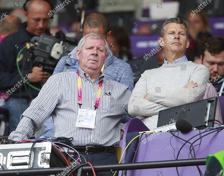 BBC Commentators Brendan Foster (left) and Steve Cram