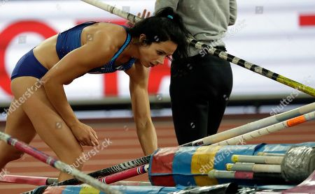United States' Jennifer Suhr leaves after setting no mark in the women's pole vault qualification during the World Athletics Championships in London