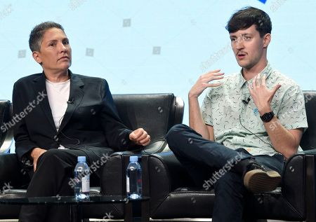 """Stock Image of Jill Soloway, Rhys Ernst Transparent"""" creator Jill Soloway, left, and producer/director Rhys Ernst participate in the Transgender Trends on TV Today panel at Television Critics Association Summer Press Tour at the Beverly Hilton, in Beverly Hills, Calif"""