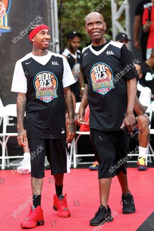 Tyga, Big Boy Tyga, left, and Big Boy attend the 2017 Nike Basketball 3ON3 Tournament: Celebrity Basketball Game held at L.A. Live, in Los Angeles