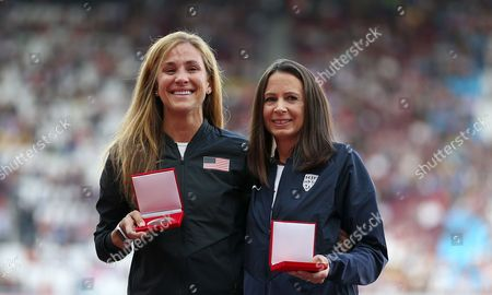 Stock Picture of Kara Goucher of USA and Joanne Pavey of Great Britain are awarded silver and Bronze medals in the Women's 10,000m for Osaka 2007