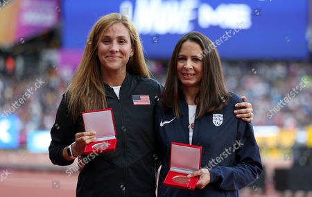 Kara Goucher of USA and Joanne Pavey of Great Britain are awarded silver and Bronze medals in the Women's 10,000m for Osaka 2007