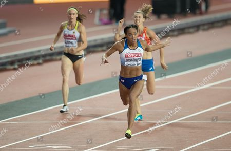Katherine Johnson-Thompson from Great Britain  wins the 200 metres in the Heptathlon