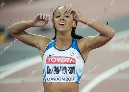 Stock Image of Katherine Johnson-Thompson from Great Britain  wins the 200 metres in the Heptathlon