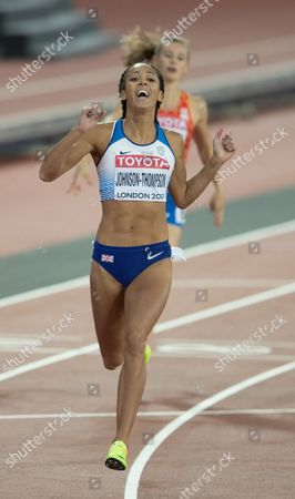 Stock Picture of Katherine Johnson-Thompson from Great Britain  wins the 200 metres in the Heptathlon