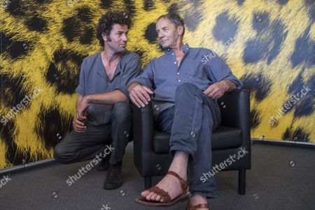 """Palestinian actors Saleh Bakri, left, and  Mohammed Bakri, right, poses during the photocall for the film """"Wajib"""" at the 70th Locarno International Film Festival in Locarno, Switzerland, 05 August 2017. The event runs from 02 to 12 August."""