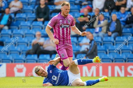 Chesterfield defender Scott Wiseman wins the ball from Grimsby midfielder Sam Kelly during the EFL Sky Bet League 2 match between Chesterfield and Grimsby Town FC at the Proact stadium, Chesterfield