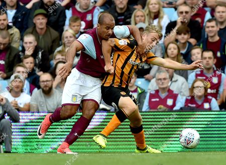 Gabriel Agbonlahor of Aston Villa and Jarrod Bowen of Hull City