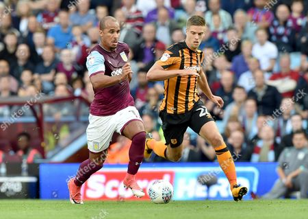 Gabriel Agbonlahor of Aston Villa and Markus Henriksen of Hull City