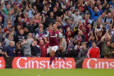 Aston Villa striker Gabriel Agbonlahor (11) scores a goal and celebrates during the EFL Sky Bet Championship match between Aston Villa and Hull City at Villa Park, Birmingham