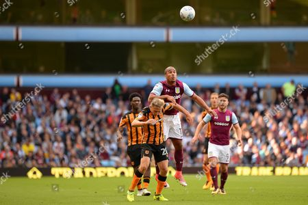 Aston Villa striker Gabriel Agbonlahor (11) heads the ball during the EFL Sky Bet Championship match between Aston Villa and Hull City at Villa Park, Birmingham