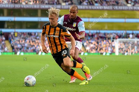 Hull City striker Jarrod Bowen (20) battles for possession with Aston Villa striker Gabriel Agbonlahor (11) during the EFL Sky Bet Championship match between Aston Villa and Hull City at Villa Park, Birmingham