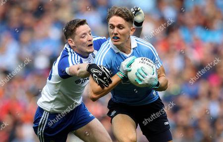 Stock Image of Dublin vs Monaghan. Dublin's Mick Fitzsimons with Conor McManus of Monaghan