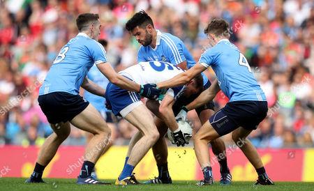 Stock Photo of Dublin vs Monaghan. Dublin's Brian Fenton, Mick Fitzsimons and Cian O?Sullivan with Conor McManus of Monaghan