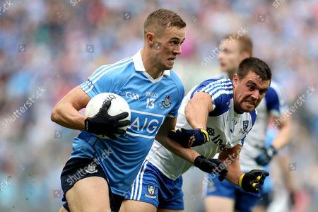 Dublin vs Monaghan. Dublin's Paul Mannion and Drew Wylie of Monaghan