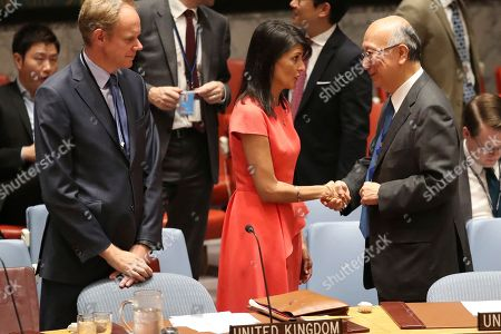 Nikki Haley, Matthew Rycroft, Koro Bessho British Ambassador to the United Nations Matthew Rycroft, left, watches American Ambassador to the United Nations Nikki Haley, center, speak to Japanese Ambassador Koro Bessho before a Security Council vote on a new sanctions resolution that would increase economic pressure on North Korea to return to negotiations on its missile program, at U.N. headquarters