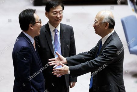 Cho Tae-yul (L), South Korea's Ambassador to the United Nations, talks with Koro Bessho (R), Japan's Ambassador to the United Nations, before members of the United Nations Security Council voted on a resolution to implement new sanctions against North Korea as way to pressure Kim Jong Un's regime to return to international nuclear and missile negotiations at United Nations headquarters in New York, New York, USA, 05 August 2017.