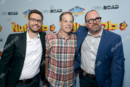 Stock Image of Bob Barlen, Writer/Producer/Actor, Tom Ortenberg, Chief Executive Officer of Open Road Films, Cal Brunker, Director/Writer/Actor,