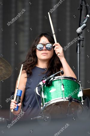 Stella Mozgawa of Warpaint performs on day three at Lollapalooza in Grant Park on in Chicago