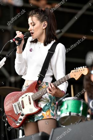 Theresa Wayman of Warpaint performs on day three at Lollapalooza in Grant Park on in Chicago