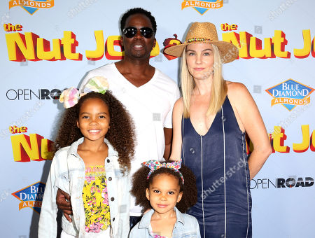 "Wynter Aria Perrineau, Harold Perrineau, Holiday Grace Perrineau, Brittany Perrineau Wynter Aria Perrineau, from left, Harold Perrineau, Holiday Grace Perrineau and Brittany Perrineau arrive at the LA Premiere of ""The Nut Job 2: Nutty by Nature"", in Los Angeles"