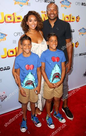 """Stock Picture of Derek Fisher, Gloria Govan, Isaiah Barnes, Carter Barnes Gloria Govan, left, Derek Fisher and twins Isaiah and Carter Barnes arrive at the LA Premiere of """"The Nut Job 2: Nutty by Nature"""", in Los Angeles"""