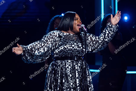 Stock Photo of Tasha Cobbs Leonard performs at the Black Girls Rock! Awards at the New Jersey Performing Arts Center, in Newark, N.J