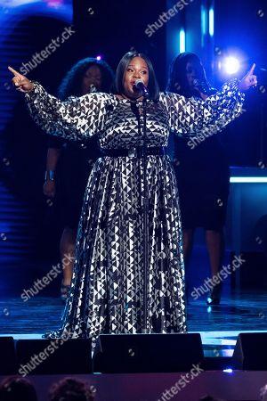 Tasha Cobbs Leonard performs at the Black Girls Rock! Awards at the New Jersey Performing Arts Center, in Newark, N.J