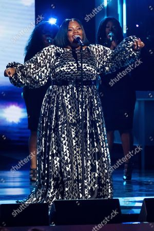 Stock Picture of Tasha Cobbs Leonard performs at the Black Girls Rock! Awards at the New Jersey Performing Arts Center, in Newark, N.J