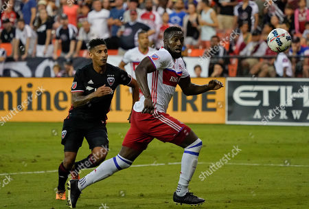Sean Franklin, Jozy Altidore D.C. United defender Sean Franklin (5) and Toronto FC forward Jozy Altidore (17) chase after a loose ball during the second half of an MLS soccer match, at RFK Stadium in Washington. The game end in a 1-1 draw