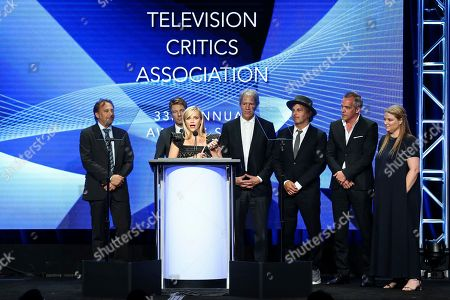 Reese Witherspoon, Gregg Fienberg, Per Saari, David E. Kelley, Nathan Ross, Jean-Marc Vallee, Bruna Papandrea Reese Witherspoon, Gregg Fienberg, Per Saari, David E. Kelley, Nathan Ross, Jean-Marc Vallee and Bruna Papandrea accept the award for 'Outstanding Achievement in Movies, Miniseries and Speicals' for 'Big Little Lies' during the 2017 Summer TCA Awards held at The Beverly Hilton Hotel, in Beverly Hills, Calif