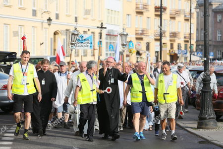 Participants of the 306nd Warsaw pedestrian pilgrimage  to Jasna Gora in Czestochowa set off from Warsaw, Poland, 06 August 2017. In nine days the pilgrims will walk 290 kilometers from Warsaw to Czestochowa. Every year around 100,000 Catholics take part in walking pilgrimages to the Black Madonna shrine.