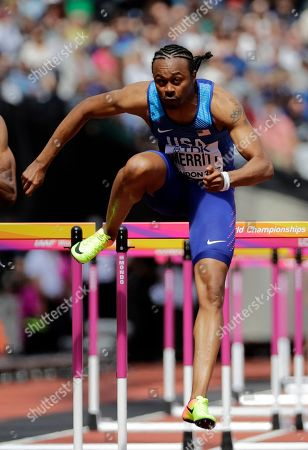 United States' Aries Merritt competes in a men's 110-meter hurdles first round heat during the World Athletics Championships in London